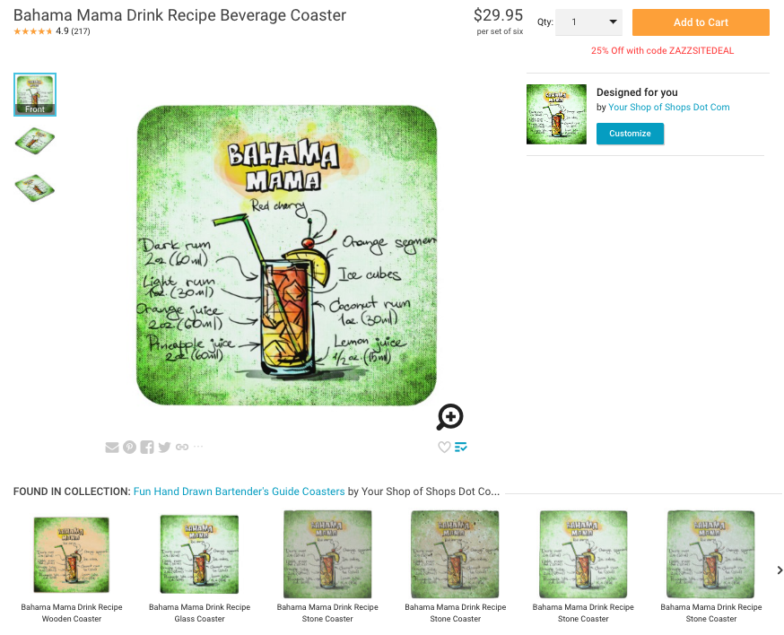 Zazzle product page showing of cross-selling